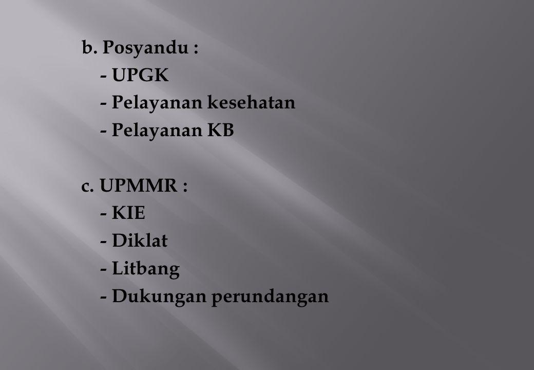 b.Posyandu : - UPGK - Pelayanan kesehatan - Pelayanan KB c.