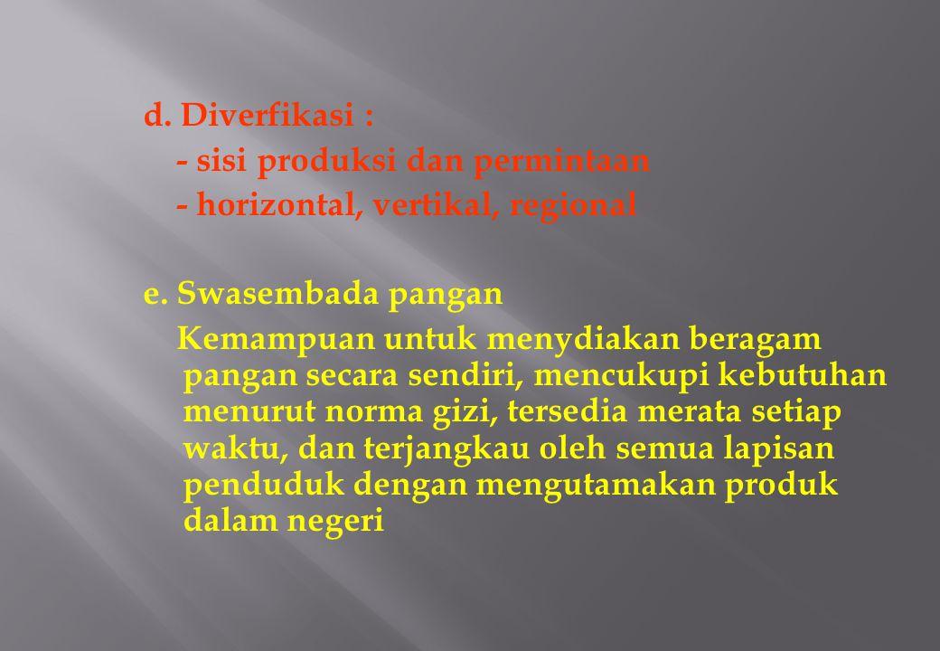 d.Diverfikasi : - sisi produksi dan permintaan - horizontal, vertikal, regional e.