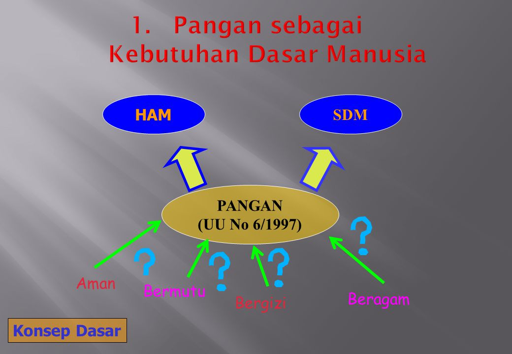 HAM SDM PANGAN (UU No 6/1997) Aman Bermutu Bergizi Beragam Konsep Dasar