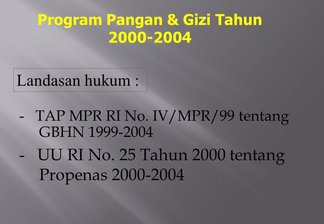 - TAP MPR RI No.IV/MPR/99 tentang GBHN 1999-2004 - UU RI No.