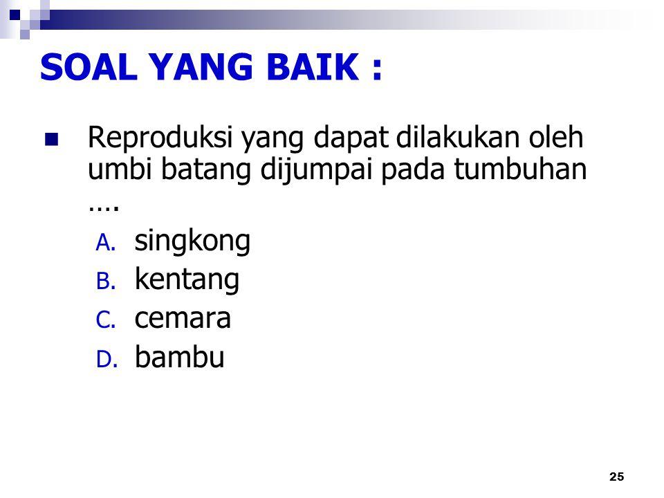 24 Reproduksi yang dapat dilakukan oleh umbi batang tidak dijumpai pada tumbuhan berikut, kecuali: A. singkong B. kentang C. cemara D. bambu