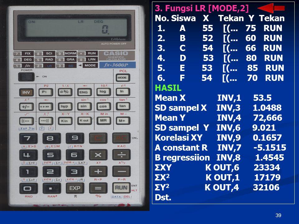 38 PENGGUNAAN KALKULATOR 1. Pembersihan Data: ON, INV, AC MR, M+ MODE,., INV, AC 2. Fungsi SD [MODE, 3] No. Siswa Skor Tekan 1. A 55 RUN 2. B 54 RUN 3