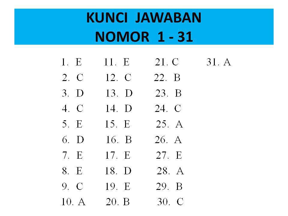 KUNCI JAWABAN NOMOR 1 - 31