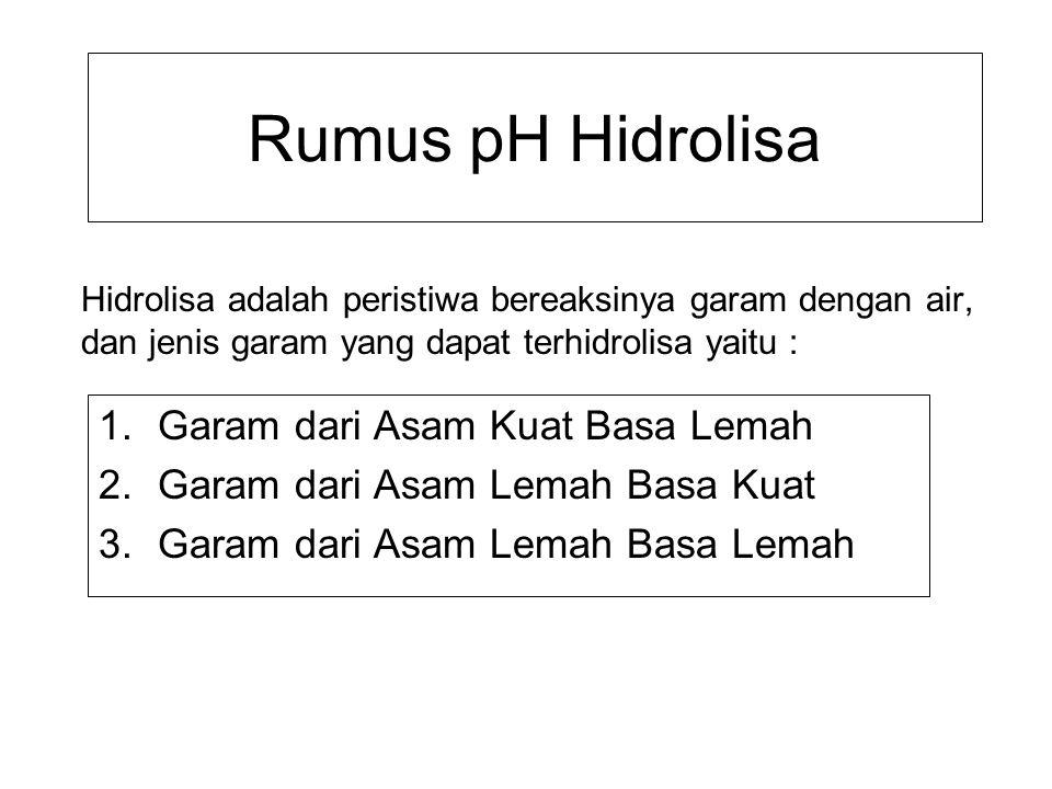 Rumus pH Hidrolisa 1.Garam dari Asam Kuat Basa Lemah 2.Garam dari Asam Lemah Basa Kuat 3.Garam dari Asam Lemah Basa Lemah Hidrolisa adalah peristiwa b