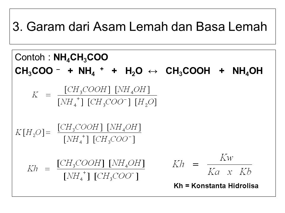 3. Garam dari Asam Lemah dan Basa Lemah Contoh : NH 4 CH 3 COO CH 3 COO – + NH 4 + + H 2 O ↔ CH 3 COOH + NH 4 OH Kh = Konstanta Hidrolisa