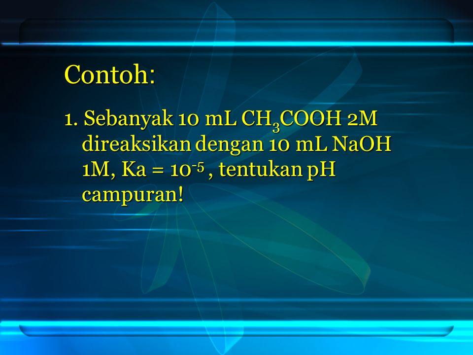 Contoh : 1. Sebanyak 10 mL CH3COOH 2M direaksikan dengan 10 mL NaOH 1M, Ka = 10-5, tentukan pH campuran!