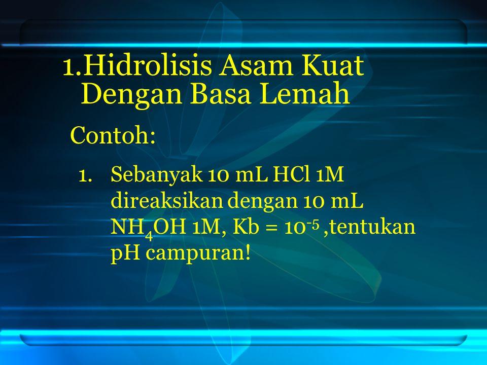 Contoh: 1. 1.Hidrolisis Asam Kuat Dengan Basa Lemah 1. 1.Sebanyak 10 mL HCl 1M direaksikan dengan 10 mL NH 4 OH 1M, Kb = 10 -5,tentukan pH campuran!