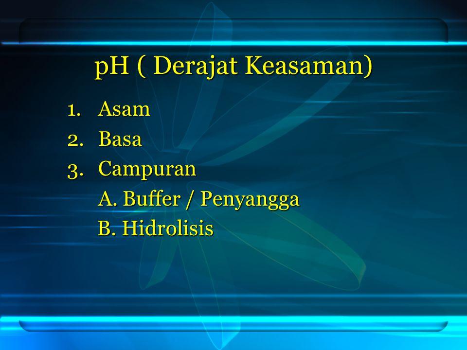 Jawab: [ H + ] = 10 -5 pH = 5 pH = 5 CH 3 COOH + NaOH → CH 3 COONa + H 2 O 10 mL 10 mL 2M 1M 2M 1M Awal : 20 mmol 10 mmol Reaksi :-10 -10 +10 +20 Sisa : 10 - 10 20