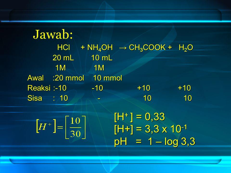 HCl + + NH4OH → CH3COOK + H2O 20 mL 10 mL 1M 1M Awal :20 mmol 10 mmol Reaksi :-10 -10 +10 +10 Sisa : 10 - 10 10 Jawab: [H+ ] = 0,33 [H+] = 3,3 x 10-1