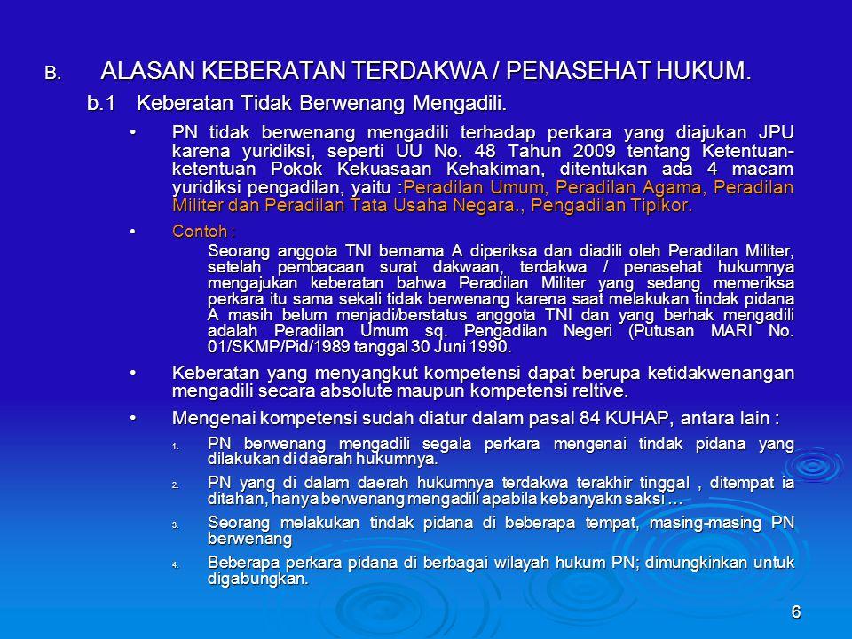 6 B.ALASAN KEBERATAN TERDAKWA / PENASEHAT HUKUM. b.1Keberatan Tidak Berwenang Mengadili.