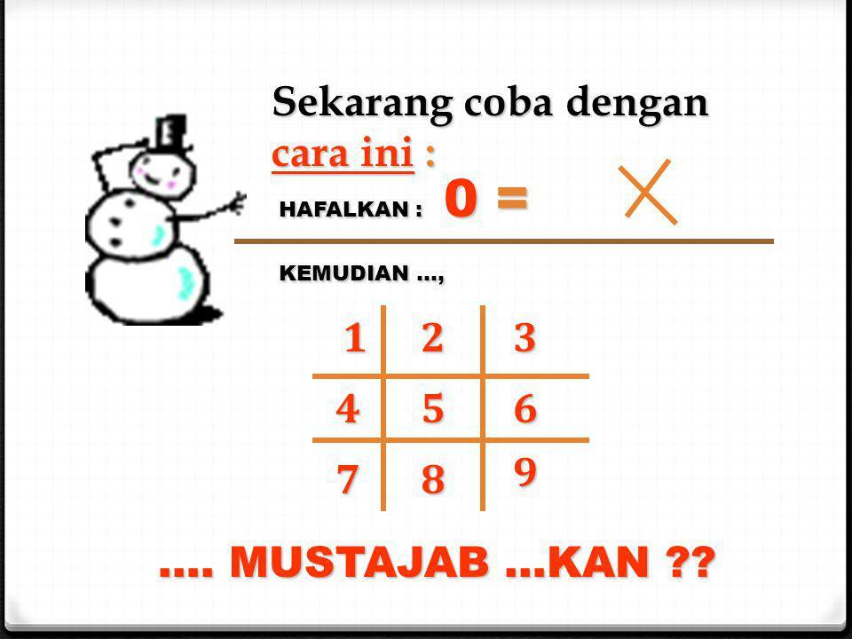 Sekarang coba dengan cara ini : HAFALKAN : 0 = KEMUDIAN …, 123 456 78 9 …. MUSTAJAB …KAN ??