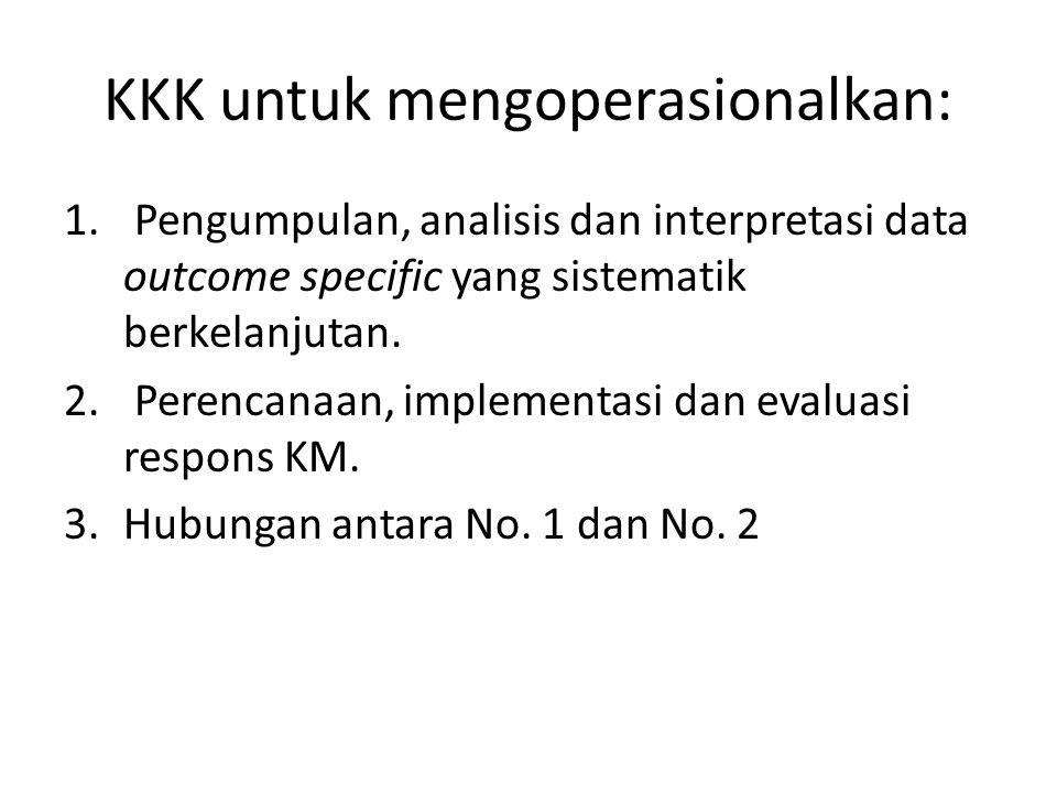 KKK untuk mengoperasionalkan: 1. Pengumpulan, analisis dan interpretasi data outcome specific yang sistematik berkelanjutan. 2. Perencanaan, implement