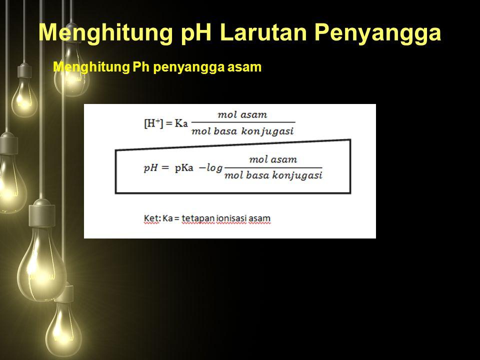 Menghitung pH Larutan Penyangga Menghitung Ph penyangga asam