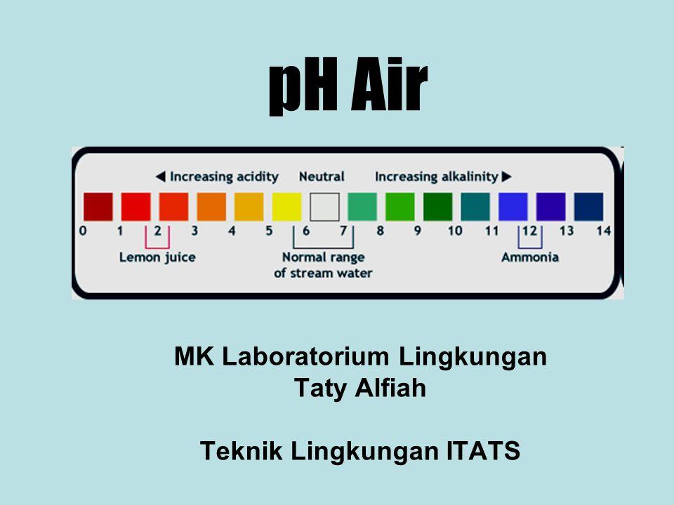 pH Air MK Laboratorium Lingkungan Taty Alfiah Teknik Lingkungan ITATS