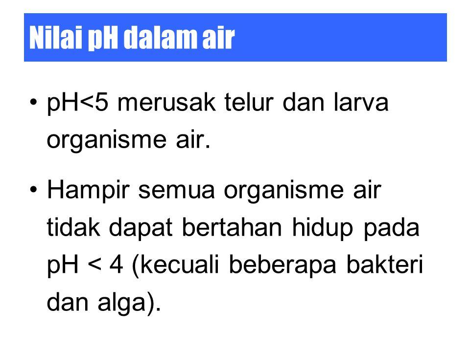 Nilai pH dalam air pH<5 merusak telur dan larva organisme air. Hampir semua organisme air tidak dapat bertahan hidup pada pH < 4 (kecuali beberapa bak
