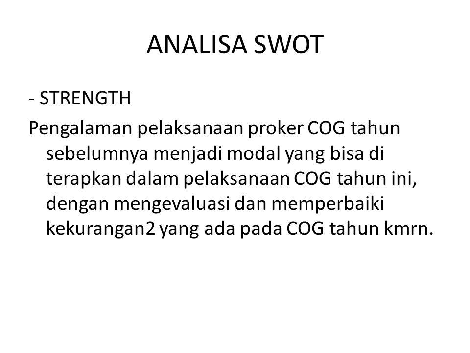 ANALISA SWOT - STRENGTH Pengalaman pelaksanaan proker COG tahun sebelumnya menjadi modal yang bisa di terapkan dalam pelaksanaan COG tahun ini, dengan mengevaluasi dan memperbaiki kekurangan2 yang ada pada COG tahun kmrn.