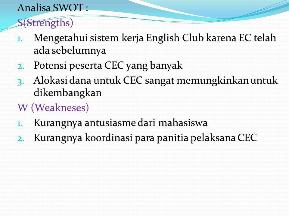 Analisa SWOT : S(Strengths) 1. Mengetahui sistem kerja English Club karena EC telah ada sebelumnya 2. Potensi peserta CEC yang banyak 3. Alokasi dana