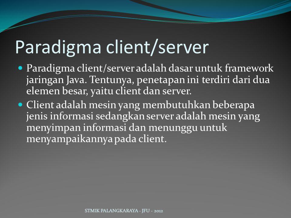 Paradigma client/server Paradigma client/server adalah dasar untuk framework jaringan Java. Tentunya, penetapan ini terdiri dari dua elemen besar, yai