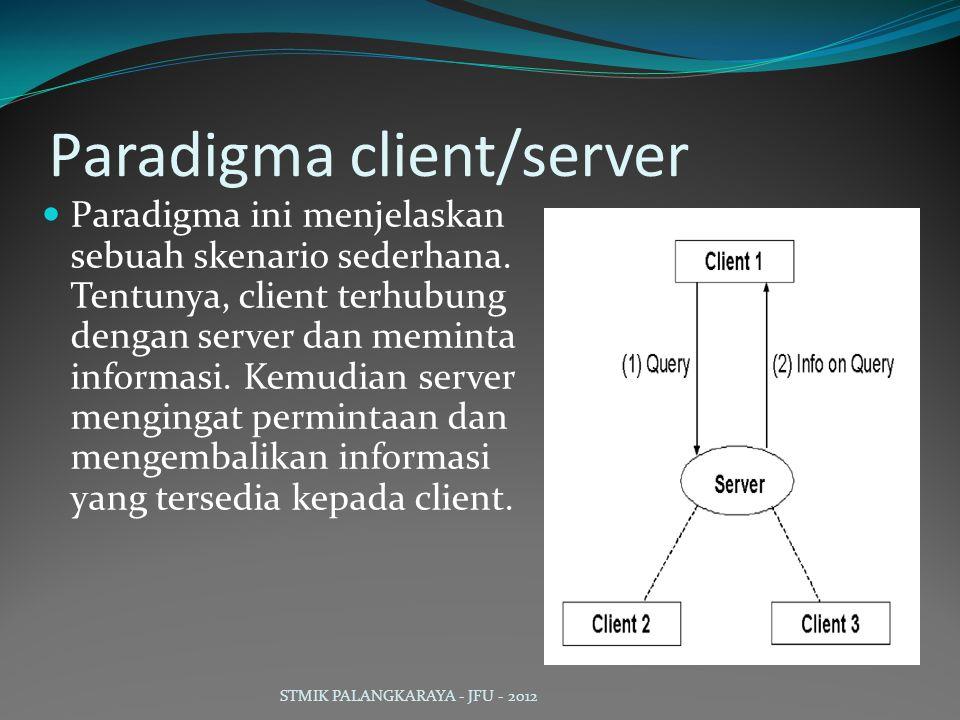 Paradigma client/server Paradigma ini menjelaskan sebuah skenario sederhana. Tentunya, client terhubung dengan server dan meminta informasi. Kemudian