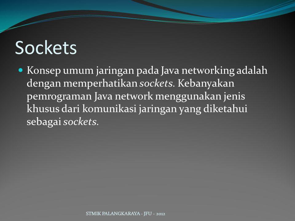 Sockets Konsep umum jaringan pada Java networking adalah dengan memperhatikan sockets. Kebanyakan pemrograman Java network menggunakan jenis khusus da
