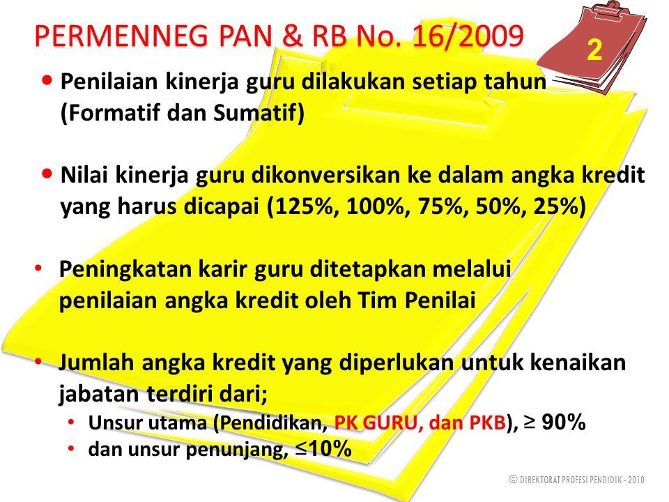 © DIREKTORAT PROFESI PENDIDIK - 2010 PERMENNEG PAN & RB No. 16/2009 Penilaian kinerja guru dilakukan setiap tahun (Formatif dan Sumatif) Nilai kinerja