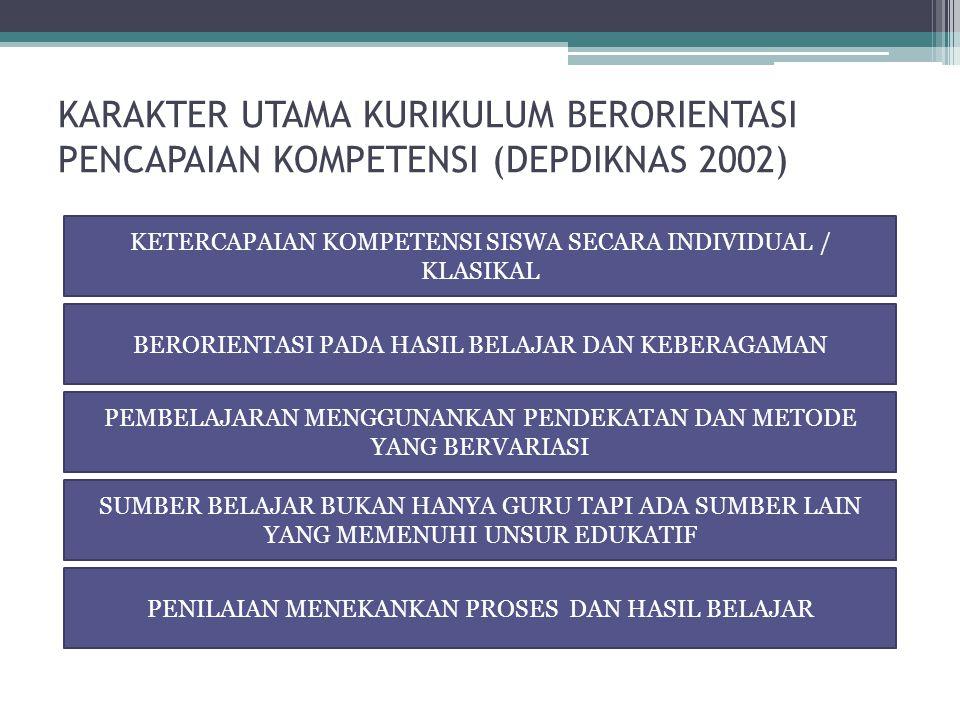 KARAKTER UTAMA KURIKULUM BERORIENTASI PENCAPAIAN KOMPETENSI (DEPDIKNAS 2002) KETERCAPAIAN KOMPETENSI SISWA SECARA INDIVIDUAL / KLASIKAL BERORIENTASI PADA HASIL BELAJAR DAN KEBERAGAMAN PEMBELAJARAN MENGGUNANKAN PENDEKATAN DAN METODE YANG BERVARIASI SUMBER BELAJAR BUKAN HANYA GURU TAPI ADA SUMBER LAIN YANG MEMENUHI UNSUR EDUKATIF PENILAIAN MENEKANKAN PROSES DAN HASIL BELAJAR