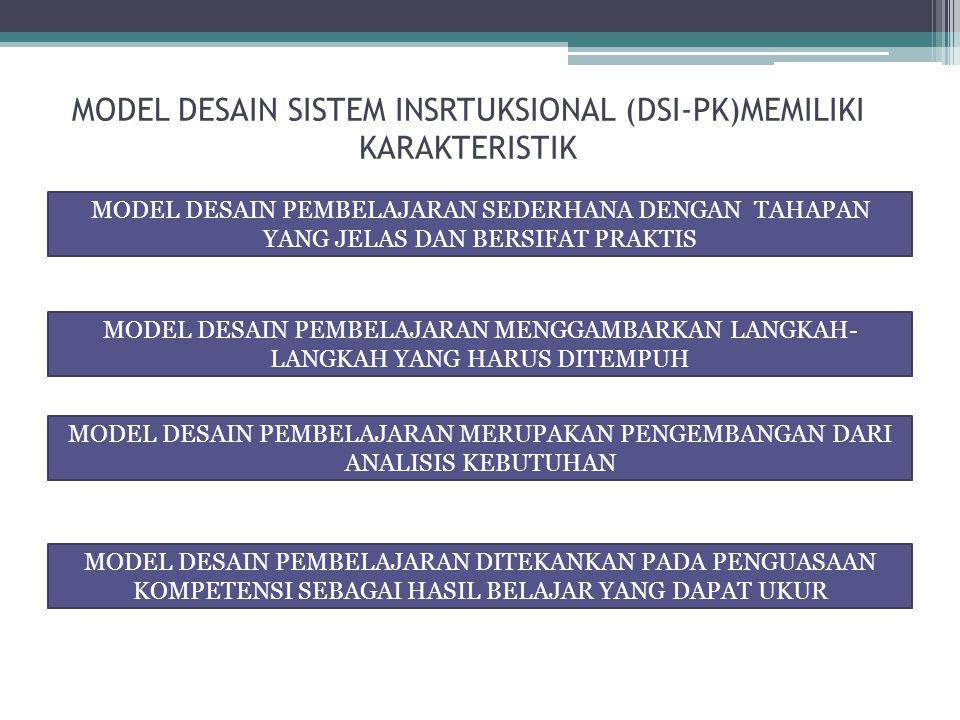 MODEL DESAIN SISTEM INSRTUKSIONAL (DSI-PK)MEMILIKI KARAKTERISTIK MODEL DESAIN PEMBELAJARAN SEDERHANA DENGAN TAHAPAN YANG JELAS DAN BERSIFAT PRAKTIS MODEL DESAIN PEMBELAJARAN MENGGAMBARKAN LANGKAH- LANGKAH YANG HARUS DITEMPUH MODEL DESAIN PEMBELAJARAN MERUPAKAN PENGEMBANGAN DARI ANALISIS KEBUTUHAN MODEL DESAIN PEMBELAJARAN DITEKANKAN PADA PENGUASAAN KOMPETENSI SEBAGAI HASIL BELAJAR YANG DAPAT UKUR