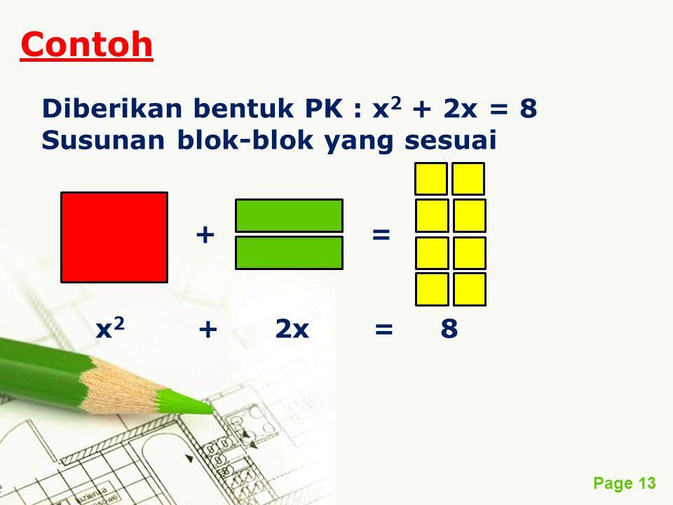 Page 13 Contoh Diberikan bentuk PK : x 2 + 2x = 8 Susunan blok-blok yang sesuai + = x 2 + 2x = 8