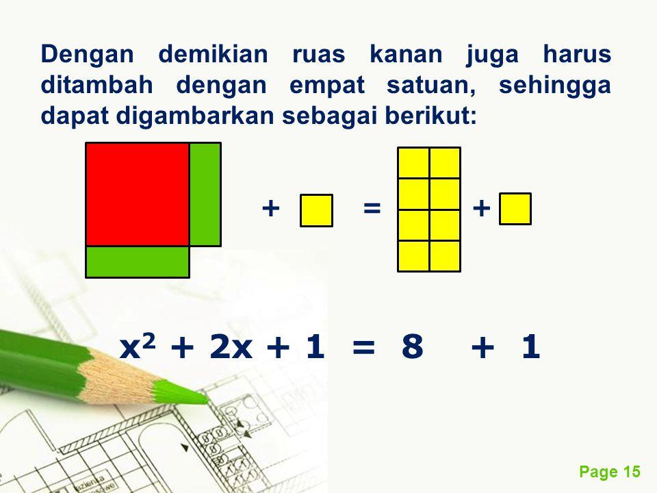 Page 15 Dengan demikian ruas kanan juga harus ditambah dengan empat satuan, sehingga dapat digambarkan sebagai berikut: + = + x 2 + 2x + 1 = 8 + 1