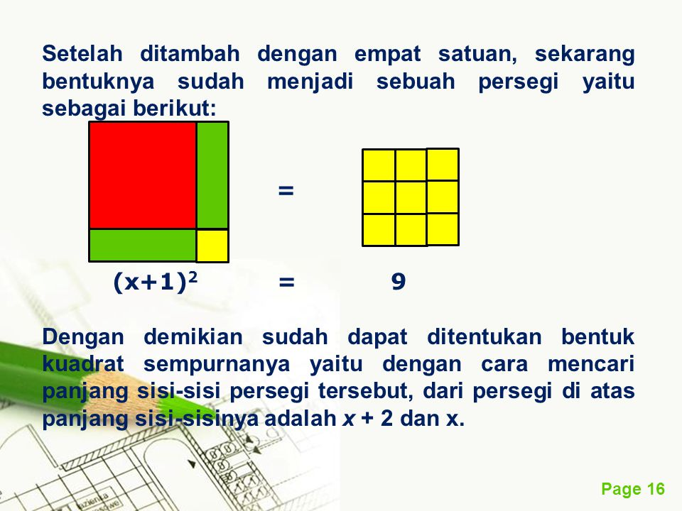 Page 16 Setelah ditambah dengan empat satuan, sekarang bentuknya sudah menjadi sebuah persegi yaitu sebagai berikut: = (x+1) 2 = 9 Dengan demikian sud