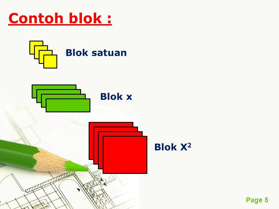 Page 5 Contoh blok : Blok satuan Blok x Blok X 2