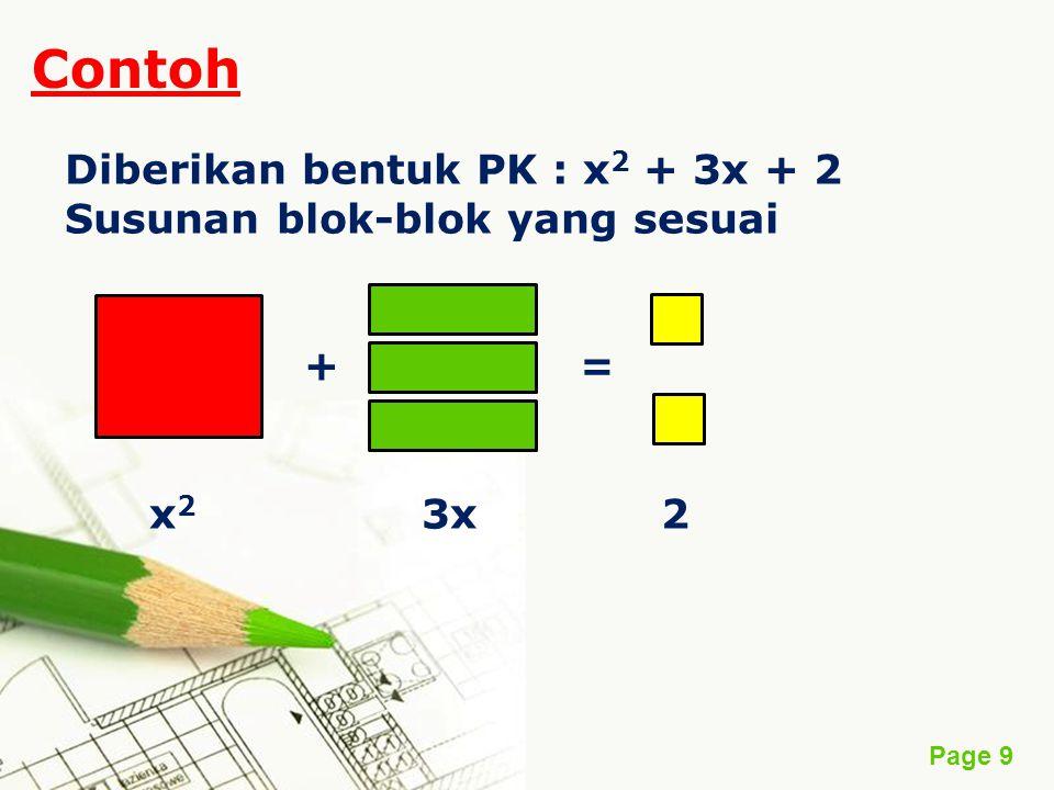 Page 9 Contoh Diberikan bentuk PK : x 2 + 3x + 2 Susunan blok-blok yang sesuai + = x 2 3x 2