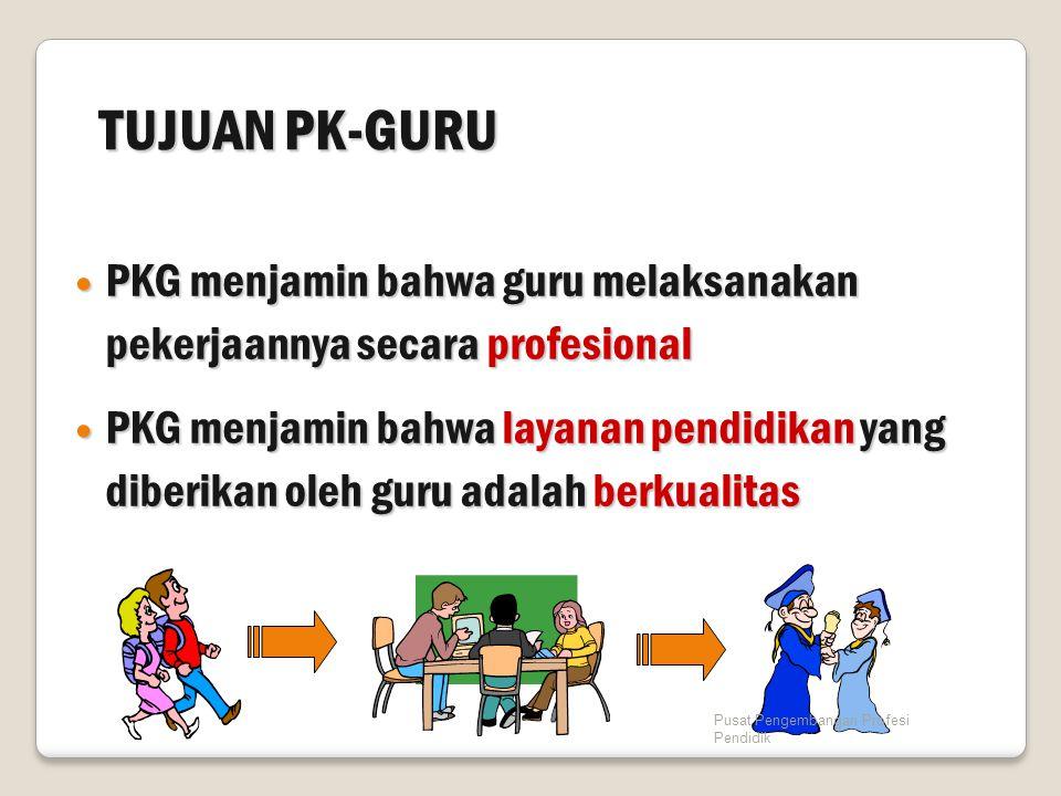 TUJUAN PK-GURU PKG menjamin bahwa guru melaksanakan pekerjaannya secara profesional PKG menjamin bahwa guru melaksanakan pekerjaannya secara profesion