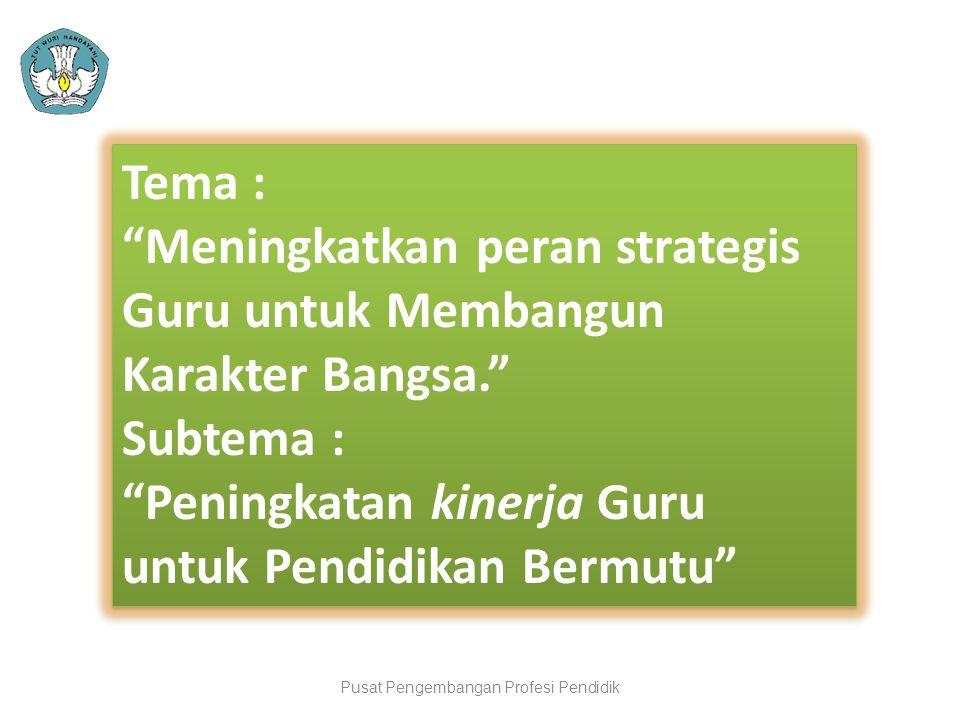 "Pusat Pengembangan Profesi Pendidik Tema : ""Meningkatkan peran strategis Guru untuk Membangun Karakter Bangsa."" Subtema : ""Peningkatan kinerja Guru un"
