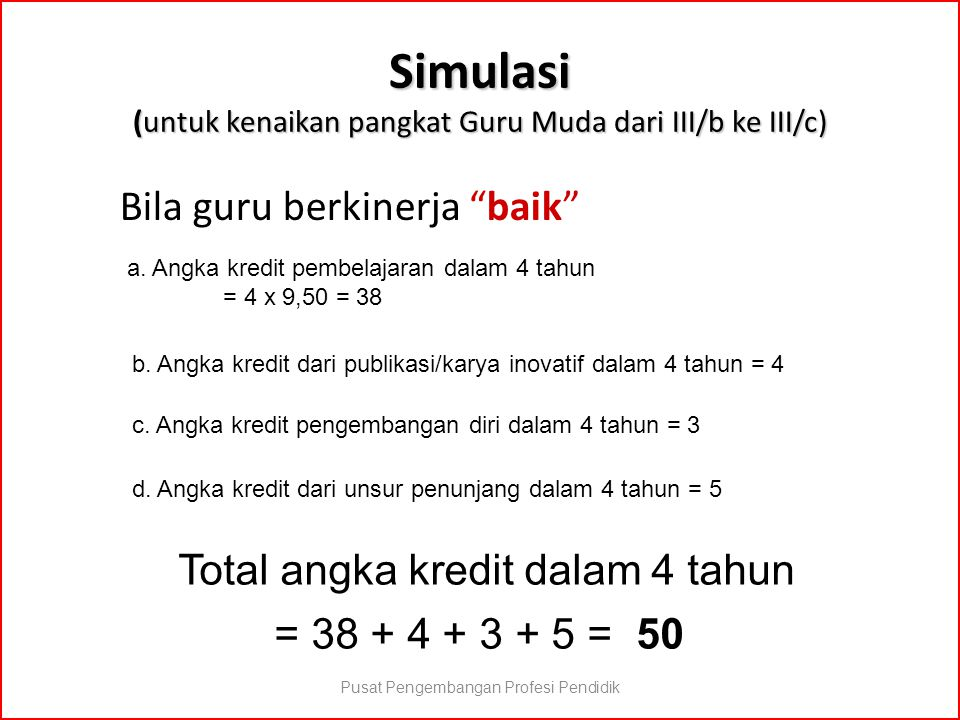 """Simulasi (untuk kenaikan pangkat Guru Muda dari III/b ke III/c) Bila guru berkinerja """"baik"""" a. Angka kredit pembelajaran dalam 4 tahun = 4 x 9,50 = 38"""