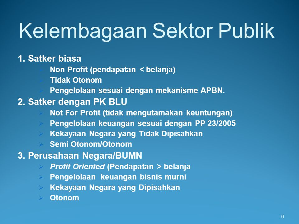 PELAYANAN UMUM PUBLIC vs PRIVATE PUBLIC (PEMERINTAH) PRIVATE (KORPORASI) MOTIVASI = MENYEDIAKAN LAYANAN KPD MASYARAKAT PENDANAAN= DARI PENERIMAAN PAJAK PENGELOLAAN : MELALUI SISTEM APBN MOTIVASI = KEUNTUNGAN (PROFIT) PENDANAAN = DARI MASYARAKAT PENGELOLAAN = TIDAK MELALUI SISTEM APBN