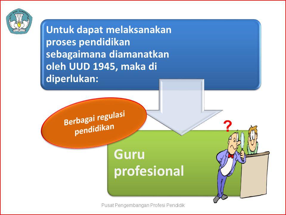 Untuk dapat melaksanakan proses pendidikan sebagaimana diamanatkan oleh UUD 1945, maka di diperlukan: Guru profesional ? Pusat Pengembangan Profesi Pe