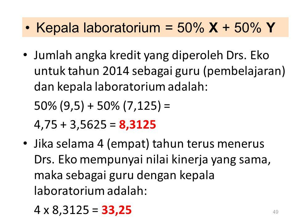 Jumlah angka kredit yang diperoleh Drs. Eko untuk tahun 2014 sebagai guru (pembelajaran) dan kepala laboratorium adalah: 50% (9,5) + 50% (7,125) = 4,7