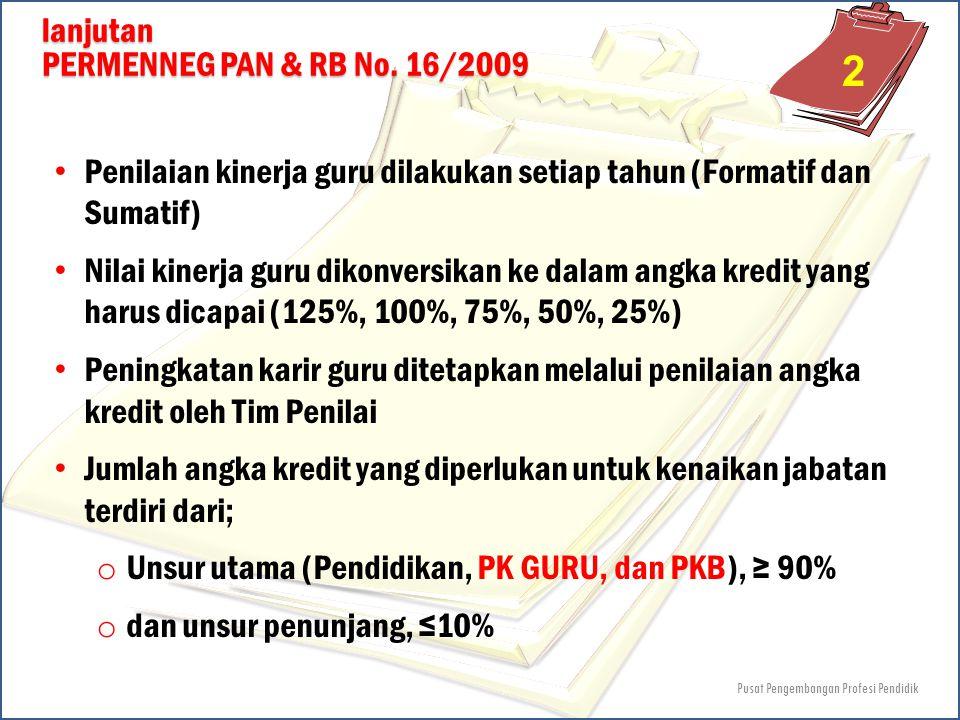 lanjutan PERMENNEG PAN & RB No. 16/2009 Penilaian kinerja guru dilakukan setiap tahun (Formatif dan Sumatif) Nilai kinerja guru dikonversikan ke dalam
