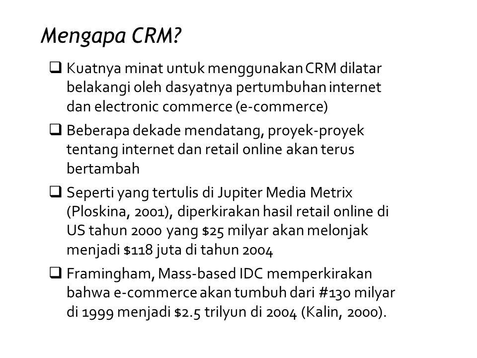Mengapa CRM?  Kuatnya minat untuk menggunakan CRM dilatar belakangi oleh dasyatnya pertumbuhan internet dan electronic commerce (e-commerce)  Bebera