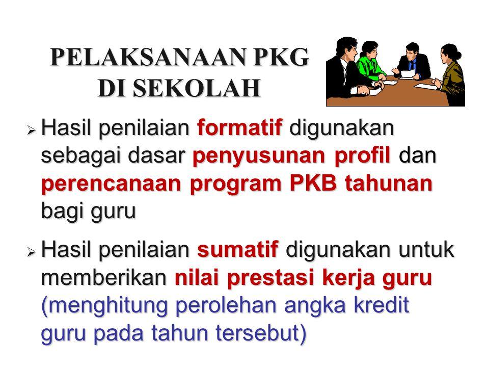 PELAKSANAAN PKG DI SEKOLAH  Hasil penilaian formatif digunakan sebagai dasar penyusunan profil dan perencanaan program PKB tahunan bagi guru  Hasil
