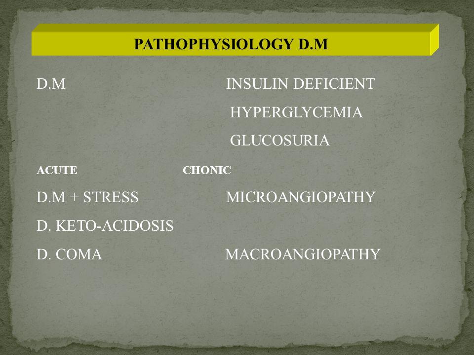 PATHOPHYSIOLOGY D.M D.M INSULIN DEFICIENT HYPERGLYCEMIA GLUCOSURIA ACUTE CHONIC D.M + STRESSMICROANGIOPATHY D.