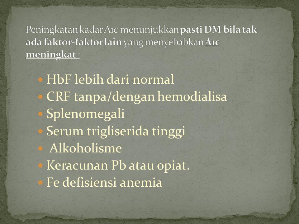 HbF lebih dari normal CRF tanpa/dengan hemodialisa Splenomegali Serum trigliserida tinggi Alkoholisme Keracunan Pb atau opiat. Fe defisiensi anemia
