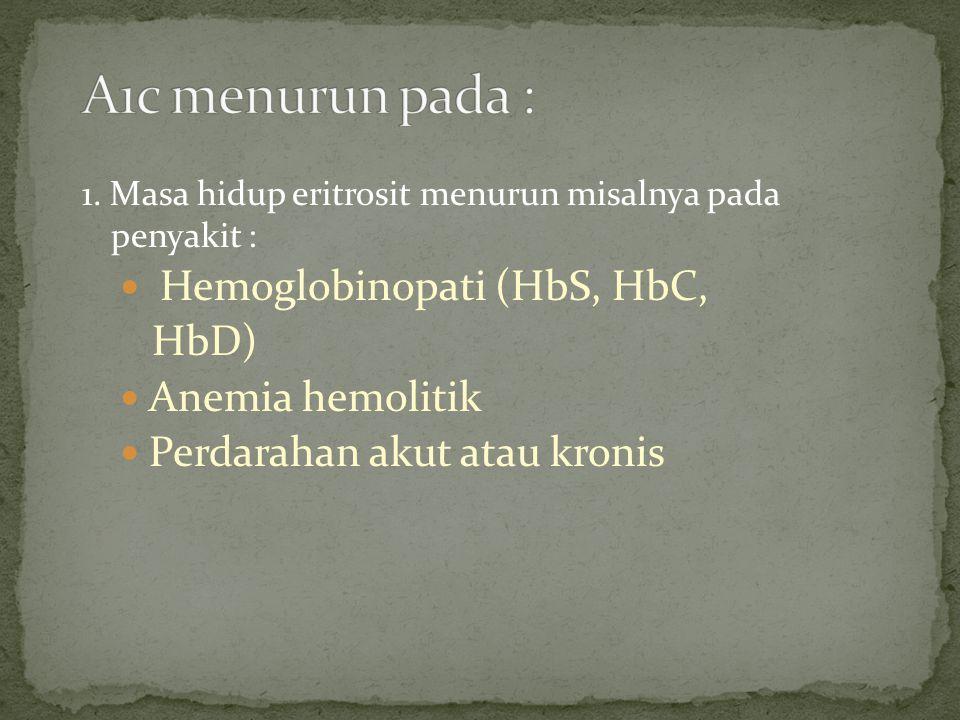 1. Masa hidup eritrosit menurun misalnya pada penyakit : Hemoglobinopati (HbS, HbC, HbD) Anemia hemolitik Perdarahan akut atau kronis