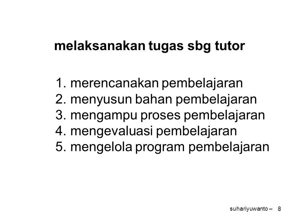 8 melaksanakan tugas sbg tutor 1.merencanakan pembelajaran 2.menyusun bahan pembelajaran 3.mengampu proses pembelajaran 4.mengevaluasi pembelajaran 5.