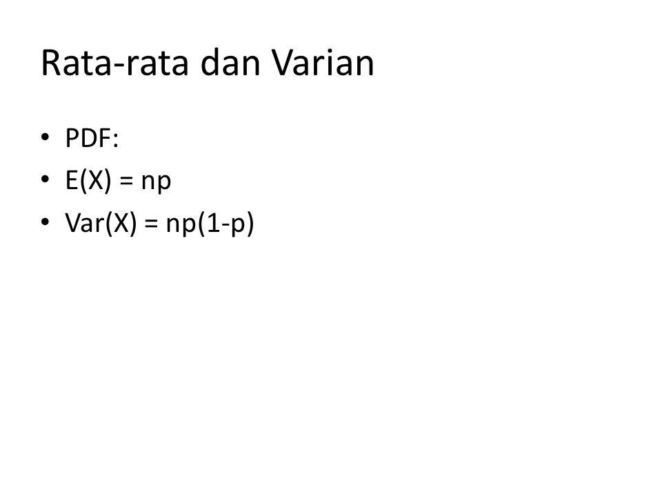 Multinomial (1) Sama seperti pada Binomial, bedanya pada Multinomial terdapat lebih dari dua kemungkinan sukses Ciri-ciri Terdapat, misalkan k percobaan yang diulang- ulang (trial and error), misalkan sebanyak n kali Setiap percobaan yang diulang digolongkan ke dalam sukses dan gagal Percobaan pertama yang diulang sukses dengan peluang p1 dan gagal dengan peluang (1-p1)