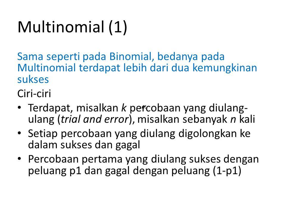 Multinomial (2) Ciri-ciri Percobaan kedua yang diulang sukses dengan peluang p2 dan gagal dengan peluang (1-p2) … Percobaan ke-k yang diulang sukses dengan peluang pk dan gagal dengan peluang (1-pk)