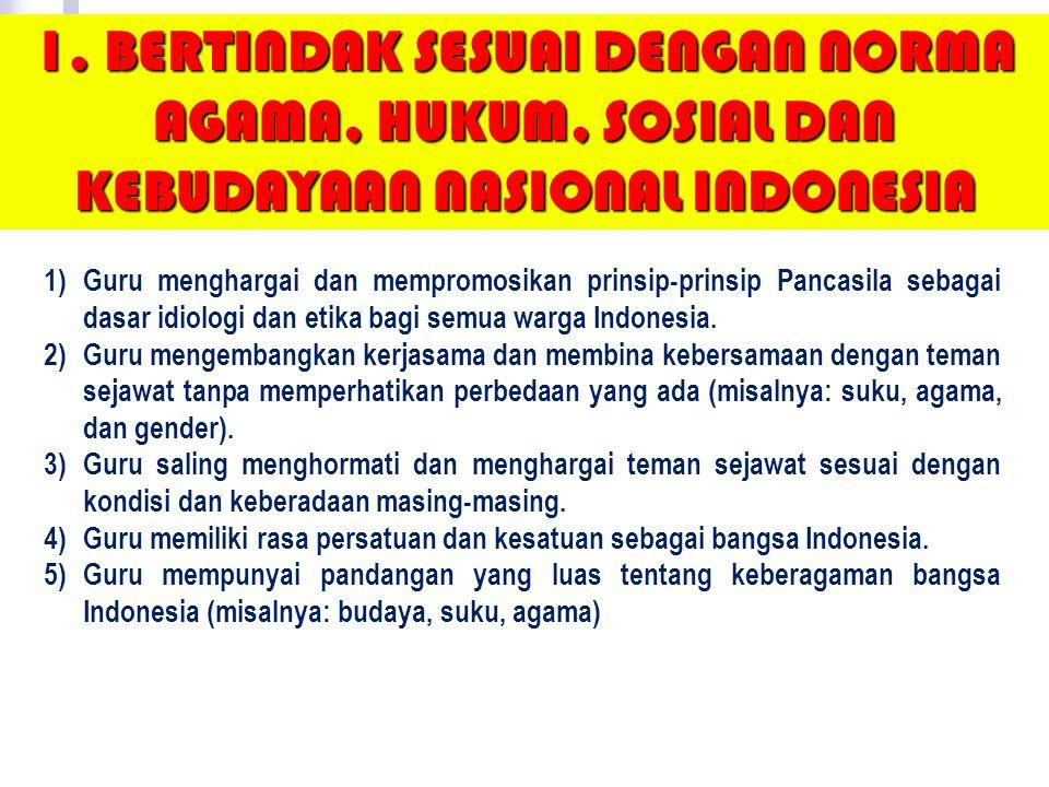 1)Bertindak sesuai dengan norma agama, hukum, sosial dan kebudayaan nasional Indonesia 2)Menunjukkan pribadi yang dewasa dan teladan 3) Etos kerja, ta