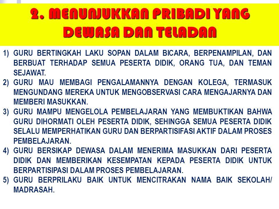 1) Guru menghargai dan mempromosikan prinsip-prinsip Pancasila sebagai dasar idiologi dan etika bagi semua warga Indonesia. 2) Guru mengembangkan kerj