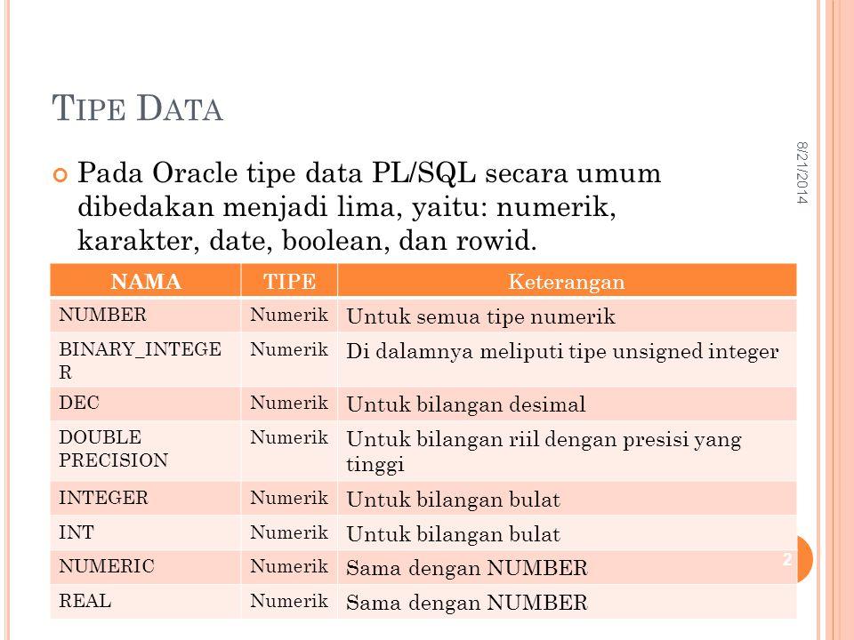 T IPE D ATA Pada Oracle tipe data PL/SQL secara umum dibedakan menjadi lima, yaitu: numerik, karakter, date, boolean, dan rowid. NAMA TIPEKeterangan N
